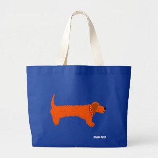 芸術の買い物袋: ジャンボ青かばんのダックスフント ラージトートバッグ