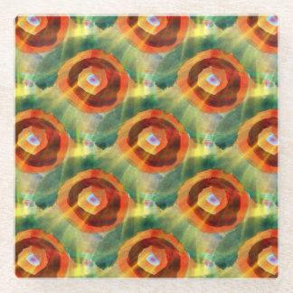 芸術の質の抽象芸術水緑、オレンジ、円 ガラスコースター