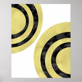 芸術の近代美術の金ゴールドホイルの幾何学的な芸術を一周して下さい ポスター