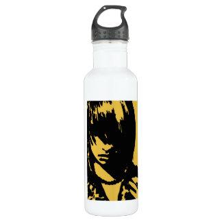 芸術の顔のupcloseの黄色 ウォーターボトル