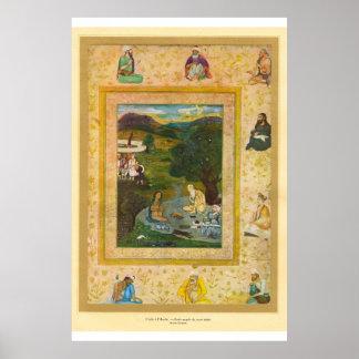 芸術のMughalクラシックなアジアインドの17世紀 ポスター