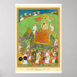 芸術のMughalクラシックなアジア皇帝のBaderの第17セント ポスター