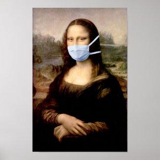 芸術をからかっているマスクDa Vinciを持つモナ・リザ ポスター