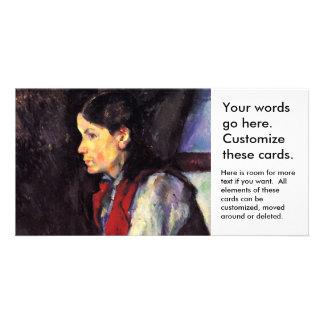 芸術を絵を描いている赤いベストポールセザンヌを持つ男の子 カード