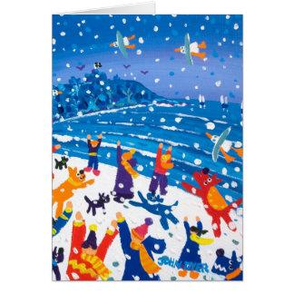 芸術カード: 雪片のための跳躍 グリーティングカード