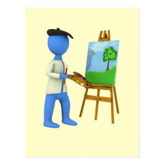 芸術家およびイーゼル ポストカード