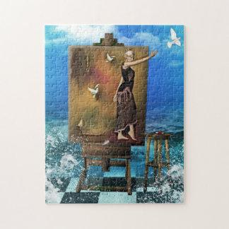 芸術家のイーゼルのSurrealistic女性 ジグゾーパズル