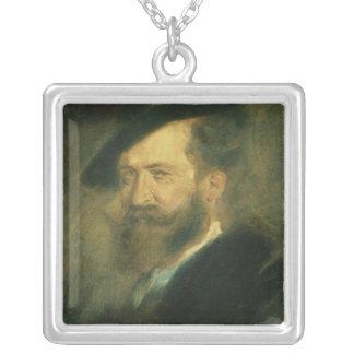 芸術家のウィルヘルムBusch、c.1878ポートレート シルバープレートネックレス