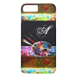 芸術家のカラーパレットおよびブラシのモノグラムの黒 iPhone 8 PLUS/7 PLUSケース