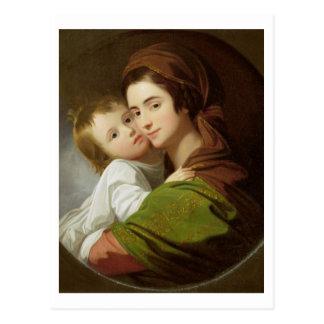 芸術家の妻、エリザベスおよび彼らの息子Raphae ポストカード