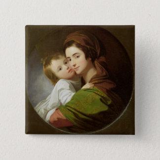 芸術家の妻、エリザベスおよび彼らの息子Raphae 5.1cm 正方形バッジ
