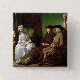 芸術家の家族(キャンバスの油) 5.1CM 正方形バッジ