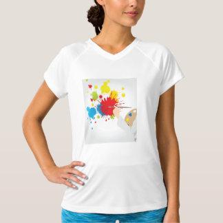 芸術家の絵画レディース能動態のティー Tシャツ