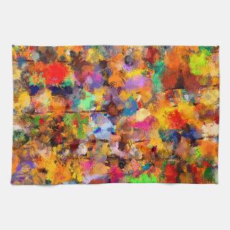 芸術家色の抽象美術の軽打 キッチンタオル