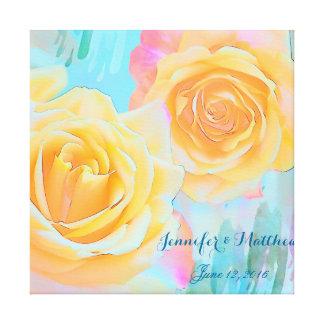 芸術的でロマンチックなバラのカスタム(marrige)の文字 キャンバスプリント