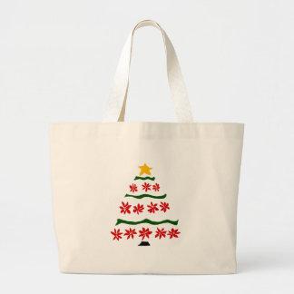 芸術的で赤いポインセチアによってはクリスマスツリーが開花します ラージトートバッグ