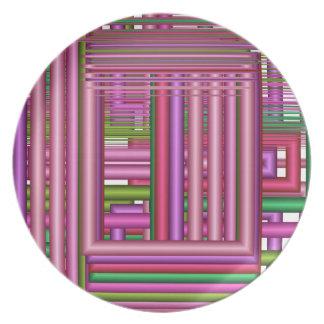 芸術的で、幾何学的な形及び粋な色のプレート プレート