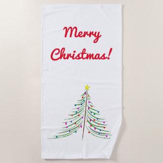 """芸術的なクリスマスツリー + """"メリークリスマス! """" ビーチタオル"""