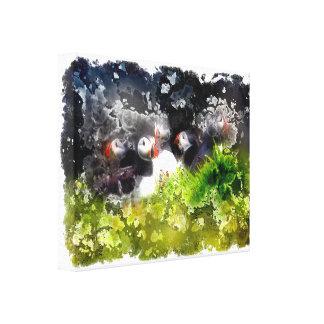 芸術的なツノメドリ キャンバスプリント