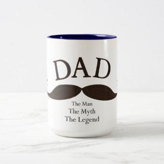 芸術的なパパの図解入りの、写真付きのな髭のマグ ツートーンマグカップ