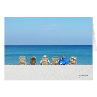 芸術的なビーチ場面、リラックスしている家族ブランク カード
