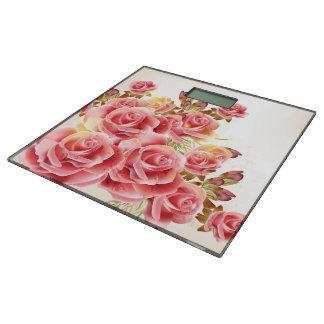 芸術的なピンクのバラの体重計 体重計