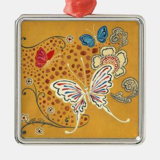 芸術的なファンタジーの蝶 シルバーカラー正方形オーナメント