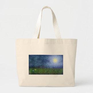 芸術的な夏の芝生場面 ラージトートバッグ