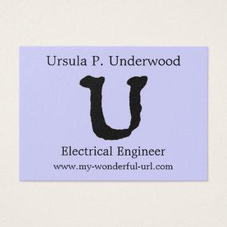 """芸術的な手紙""""U""""の手によって文字を入れられるスタイルのイニシャル 名刺"""