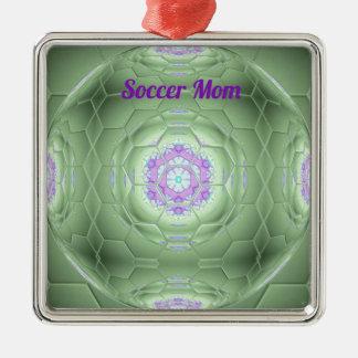 芸術的な緑のサッカーのお母さんの六角形パターン メタルオーナメント