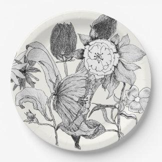 芸術的な花花束の手描きの花 ペーパープレート
