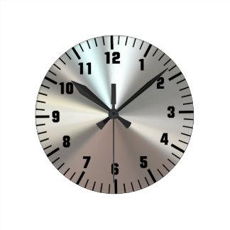 芸術的な銀製の金属 ラウンド壁時計