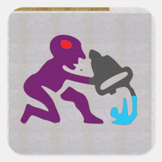 芸術的なDecoのアクエリアスの(占星術の)十二宮図の占星術の記号 スクエアシール