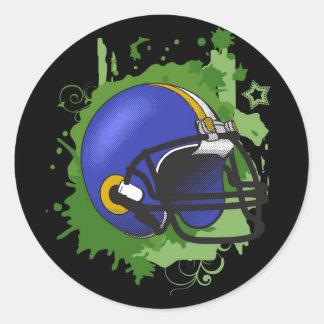 芸術的|splat|青い|フットボール|ヘルメット 丸型シール
