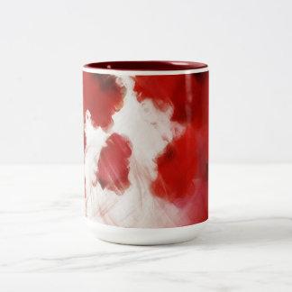 芸術2を絵を描く赤いバラの花びら-マグ ツートーンマグカップ