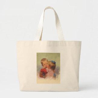 芸術、カールFeiertag 1910年に接吻しているヴィンテージの子供 ラージトートバッグ