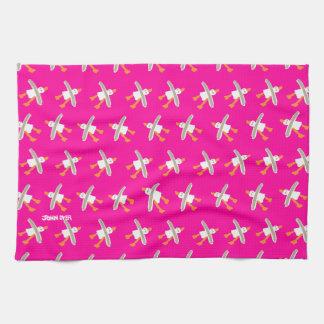 芸術TeaTowel: ピンクジョンのダイアーのカモメ キッチンタオル