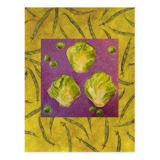 芽キャベツまたはエンドウ豆または豆カード 葉書き