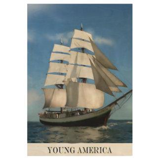 """""""若いアメリカ""""高い船の絵画 ウッドポスター"""