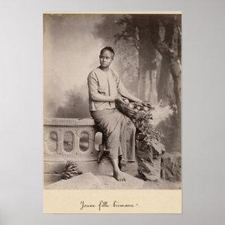 若いビルマの女の子、c.1880 ポスター