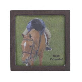 若い乗馬のライダーおよび子馬 ギフトボックス