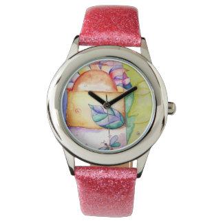 若い女の子のピンクの革紐、日曜日、月及び星の腕時計 腕時計
