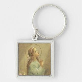 若い女の子の祈ることとして聖母マリア キーホルダー