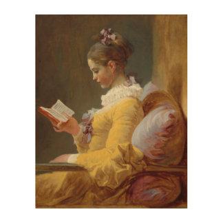 若い女の子の読書 ウッドウォールアート