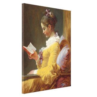 若い女の子の読書 キャンバスプリント