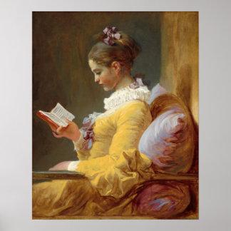 若い女の子の読書 ポスター