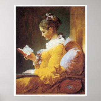 若い女の子の読書、1776年のジーンHonore Fragonard ポスター
