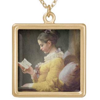 若い女の子の読書、c.1776 ゴールドプレートネックレス