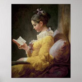 若い女の子の読書、c.1776 ポスター