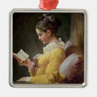 若い女の子の読書、c.1776 メタルオーナメント